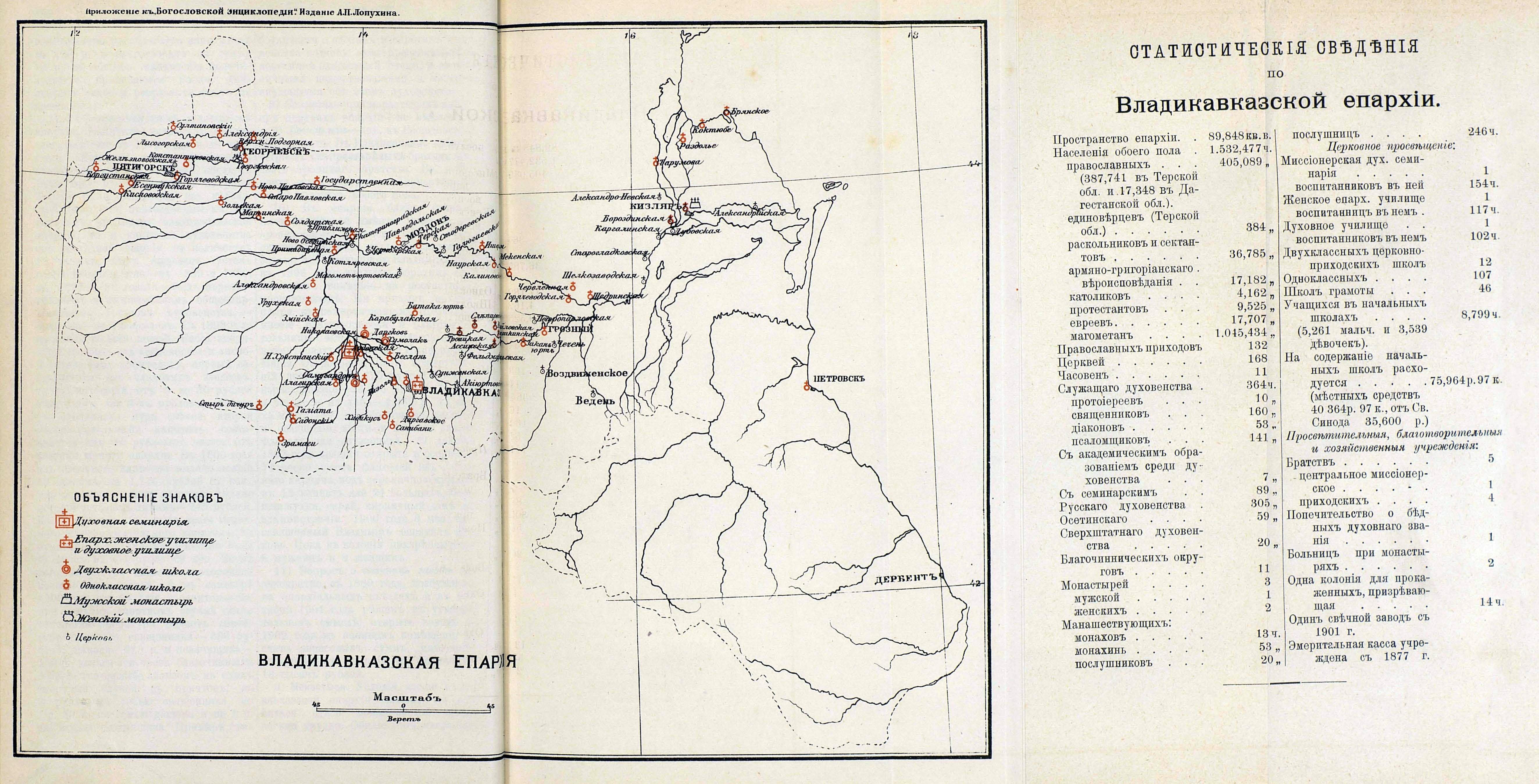 Карта Владикавказской епархии 1902 года.