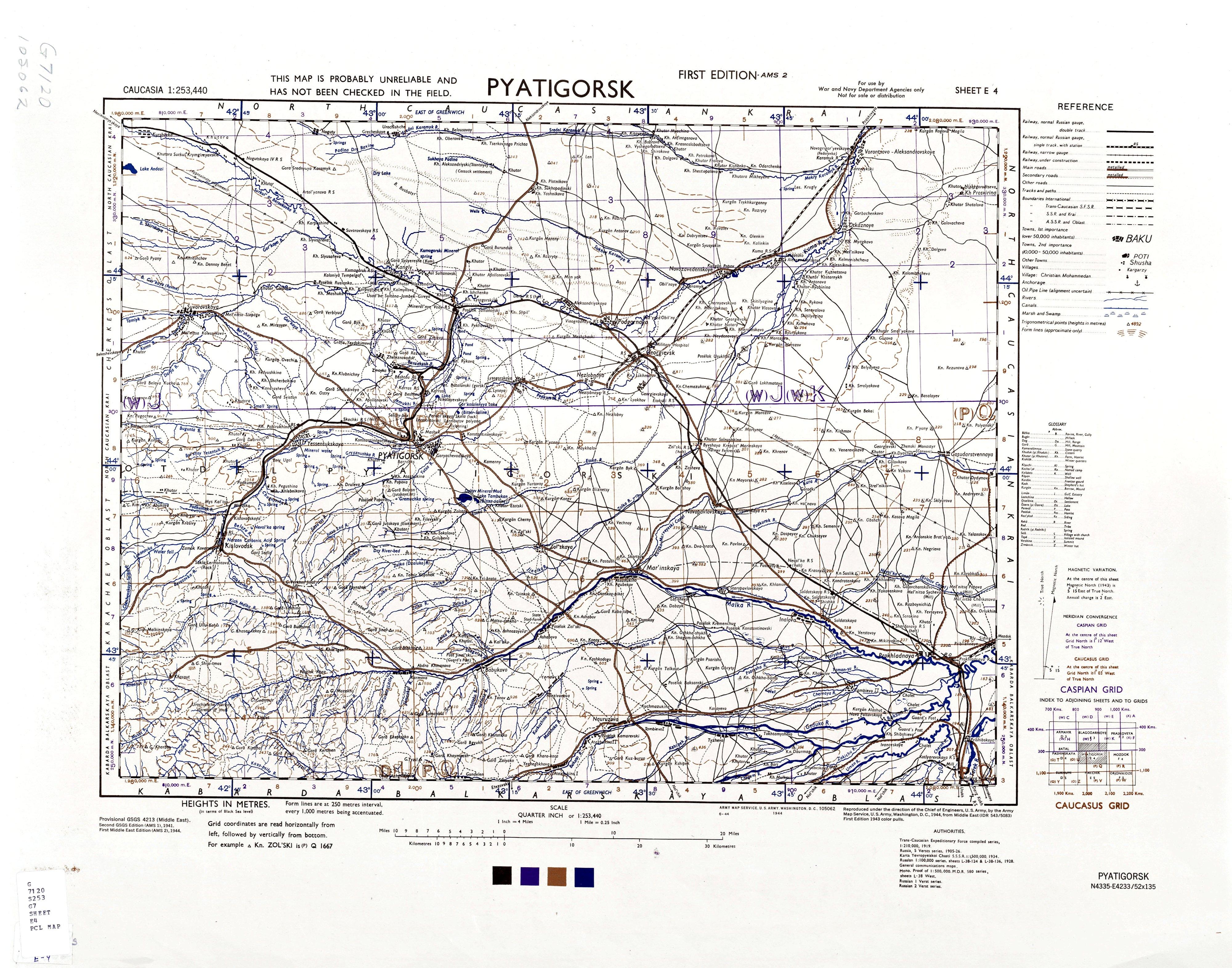 Американская карта Кавказа 1941 - 1944 гг.
