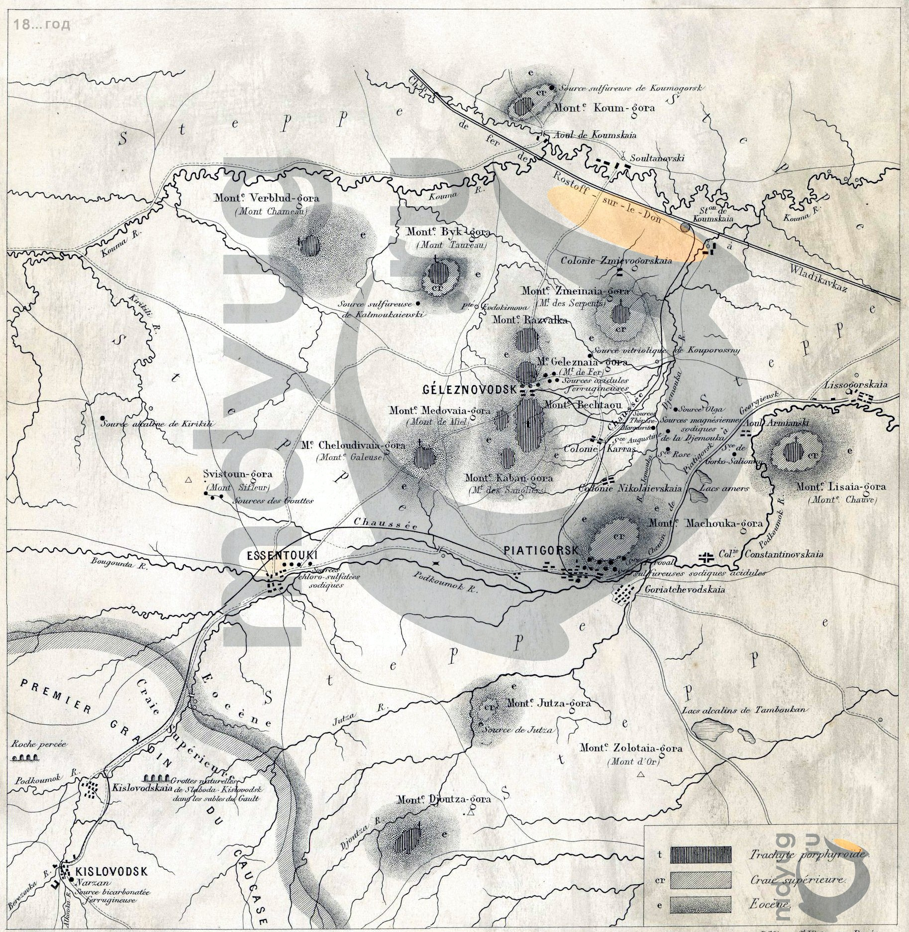 Карта Пятигорска 1875-1876 гг.