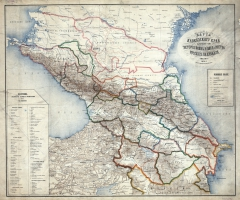 Карта Кавказского края 1870 г.