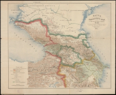 Карта Кавказского края 1901 г. с обозначением границ на 1801-1813 гг.