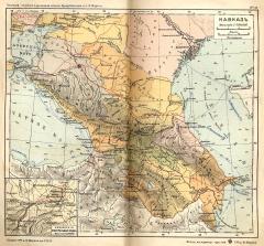 Карта Кавказа, 1908 г.