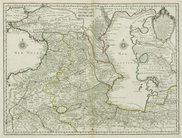 Карта стран, прилегающих к Каспийскому морю 1723 г.