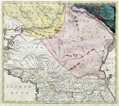 Карта положения мест между Черным и Каспийским морями, 1745 г.